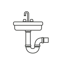 Monochrome silhouette of washbasin and drain pipe vector