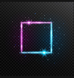 Neon square frame bright blue and violet glowing vector