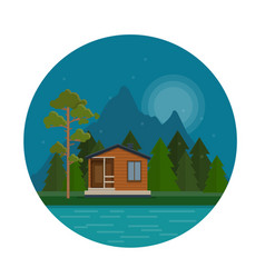 night landscape with forest house on lake vector image