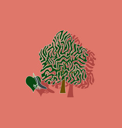 Paper sticker on background of linden wood vector