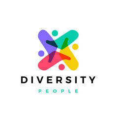 People family diversity colorful logo icon vector