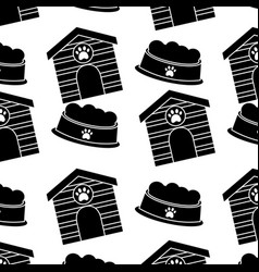 pet house and bowl food animal seamless pattern vector image