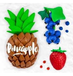 Plasticine fruits pineapple vector image