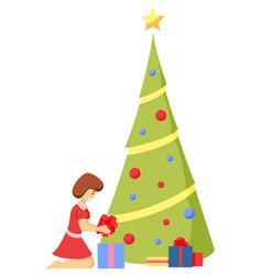 postcard girl preparation for christmas vector image
