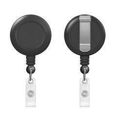 Realistic 3d black round reel holder clip vector