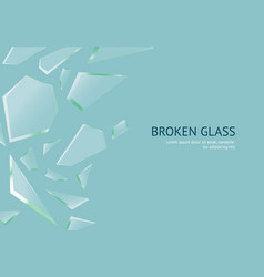 Realistic shards of broken glass concept banner vector
