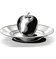 Red apple on a porcelain plate vector