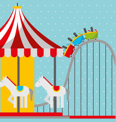 roller coaster and carousel carnival fun fair vector image