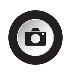 Round black and white button - camera icon vector