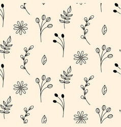 rustic floral pattern in hand drawn style with vector image