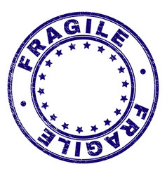 Scratched textured fragile round stamp seal vector