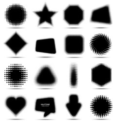 Set of 16 Abstract Halftone Design Elements vector
