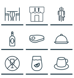 set of 9 cafe icons includes lemonade hooch vector image