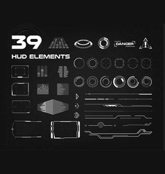 set of black and white hud ui elements for vector image