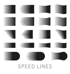 Set of different simple black speed line vector