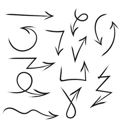 set of hand drawn arrows for highlighting text vector image