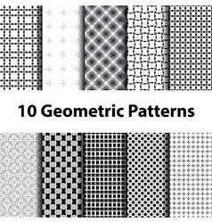 Set of ten geometric patterns vector image