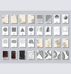 Set of trendy various geometric cover brochure vector