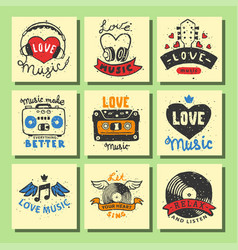 set of vintage musical cards hand drawn templates vector image