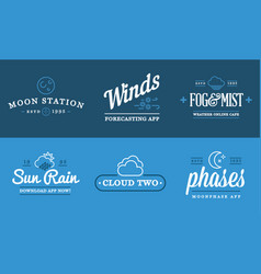 Set of weather icons and logotypes of business vector