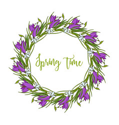spring wreath with crocus flowers vector image