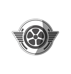 Sticker car wheel award in monochrome vector