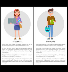 Students posters collection vector