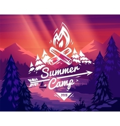 Summer camp typography design on background vector