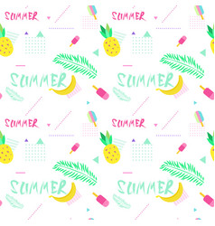 Summer seamless pattern with colorful tropical vector