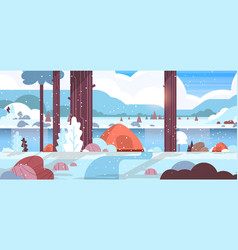 Tents camping area in winter forest camp concept vector