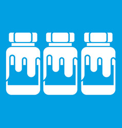 Three plastic jars with gouache icon white vector
