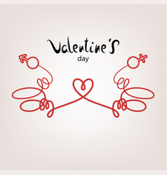 Valentine card rope sign vector
