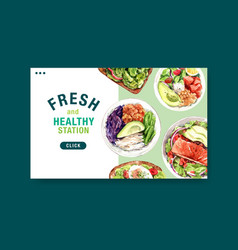Website template with healthy and organic food vector