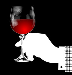 white silhouette of hand holding a glass with red vector image