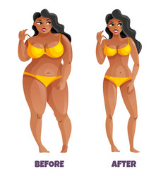 Woman before and after slimming vector
