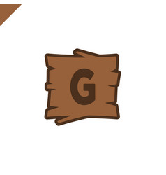 wooden alphabet or font blocks with letter g in vector image