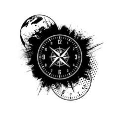 world map clock grunge background vector image