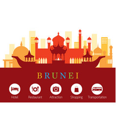 brunei landmarks skyline with accommodation icons vector image