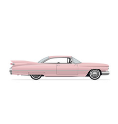 classic american vintage pink car vector image vector image