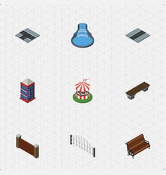 isometric architecture set of barricade bench vector image vector image