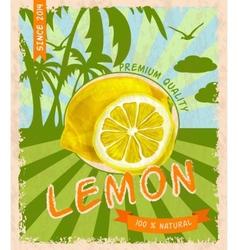 Lemon retro poster vector image vector image