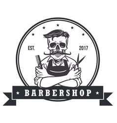 skull vintage barbershop logo template vector image