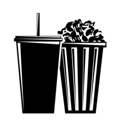 bucket pop corn and soda with straw vector image