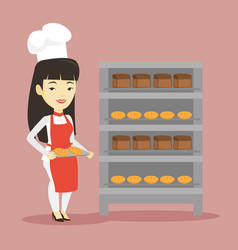 happy young female baker holding tray of bread vector image vector image