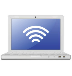 Laptop and wireless network vector image