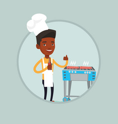 man cooking steak on gas barbecue grill vector image vector image