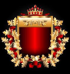 Royal emblem with gold oak leaves vector image