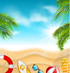 beautiful banner with palm leaves beach ball vector image vector image