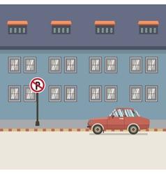 Car parked beside pedestrian vector