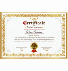 certificate template with golden vintage vector image